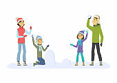 Happy family throwing snowballs - cartoon people characters illustration