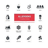 Allergens - Modern simple thin line design icons, pictograms set