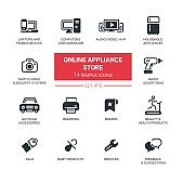 Online appliance store - Modern simple thin line design icons, pictograms set