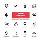 Medical professions - Modern simple thin line design icons, pictograms set