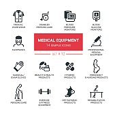 Medical equipment - Modern simple thin line design icons, pictograms set