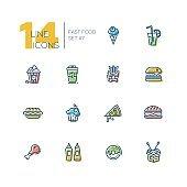 Fast Food Cafe Menu Thick Line Icons Set