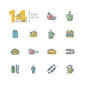 Kinds of Food Cafe Menu Thick Line Icons Set