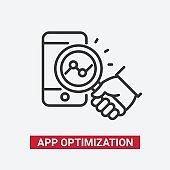 App Optimization - modern vector line design icon.