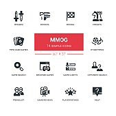 MMOG - modern vector line design icons set