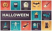Halloween - vector modern flat design icons set