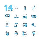 Video Gaming - line icons set