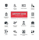 Airport guide - modern simple icons, pictograms set