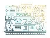 Real Estate - line design composition - color gradient