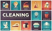 Cleaning - vector modern flat design icons set