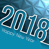 Happy new year 2018 - Low Poly, Abstract Background
