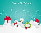 Christmas Element On Sky and Greeting Card Background Illustration