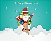 Merry Christmas Santa Claus On Sky with Gift Box and Reindeer, Greeting Card Background Illustration Paper Art