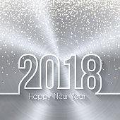 Happy new year 2018 - Circular Brushed Metal Texture (Silver, Aluminum)