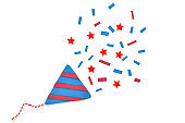 Party popper paper cut on white background - isolated