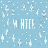 Handwriten winter abstract card template.