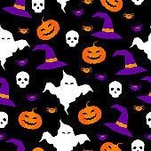 Happy halloween abstract seamless pattern background. Abstract halloween pattern for design card, party invitation, poster, album, menu, t shirt, bag print etc.