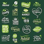 Set of icons and elements for organic food and drink, restaurant, food store, natural products, farm fresh food,  e-commerce, healthy product promotion.
