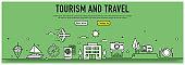 Tourism And Travel Line Banner Concept - Illustration