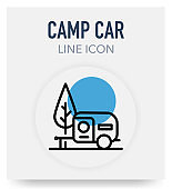 Camp Car Line Icon