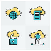 CLOUD TECHNOLOGY LINE ICONS