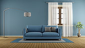Blue living room room with wooden