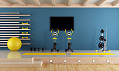Blue room with gym equipment