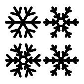 Snowflakes icon set vector illustration. Black and white.