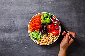Raw mixed Vegetables and chickpeas.Vegetarian Buddha Bowl