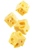cheese cube slices isolated on a white background