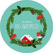 Handmade Christmas wreath with a small house