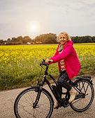 Woman riding on Electric Bike