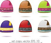 Vector winter unisex ski colorful knitted cap hat set isolated
