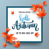 Autumn Sale banner with maples.