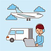 worker laptop airplane and truck delivery logistic