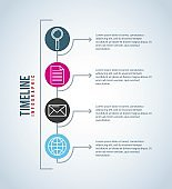 timeline infographic connection communication email document magnifier