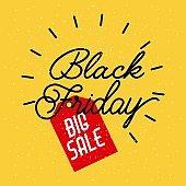 black friday big sale lettering advertising promotion