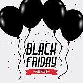 black friday big sale poster balloons and sparkles celebration