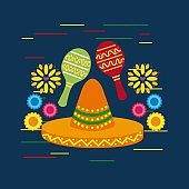 mexican sombrero hat and maracas shakers flowers decorative