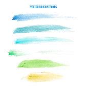 multicolor watercolor brush strokes on canvas