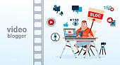 Man Video Blogger Camera Computer Screen Blogging Subscribe Concept