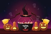 Happy Halloween Party Banner Pumpkins With Witch Broom And Pot Holiday Greeting Card