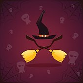 Silhouette Witch Broomstirck And Hat Happy Halloween Banner Holiday Decoration Horror Party Greeting Card