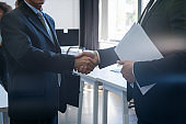 Handshake, Business People Shaking Hands After Meeting In Modern Office, Businesspeople Agreement