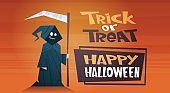 Happy Halloween Banner Holiday Decoration Horror Party Greeting Card Cute Cartoon Death Trick Or Treat