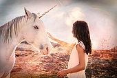 Girl and Unicorn Fantasy