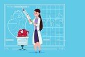 Female Doctor Holding Syringe Medical Clinics Worker Hospital