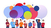 Group Of Diverse People With Colorful Chat Bubbles Cartoon Men And Women Social Media Communication Concept