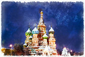 Colorful painting of Saint Basil's Cathedral at night