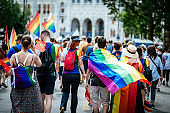 Gay pride parade in Budapest, Hungary - Vodafone supporters coming to gathering point